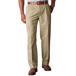 Dockers Big and Tall Classic Fit Pleated Chinos Pants British Khaki 42 x 30