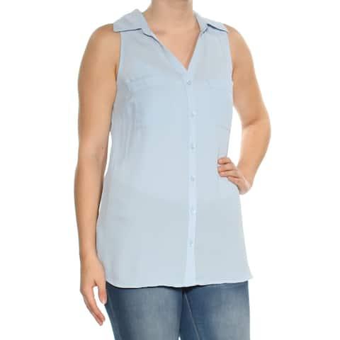 NY COLLECTION Womens Light Blue Sleeveless V Neck Top Size: S