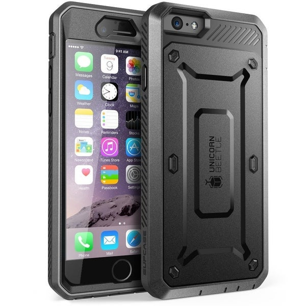 """SUPCASE Apple iPhone 6 Plus 5.5"""" Case - Unicorn Beetle Pro Series Protective Cover with Built-in Screen - Black Black"""