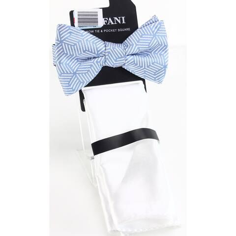 Alfani Men's Blue Edina Geometric Pre-Tied Bow Tie Pocket Square Set