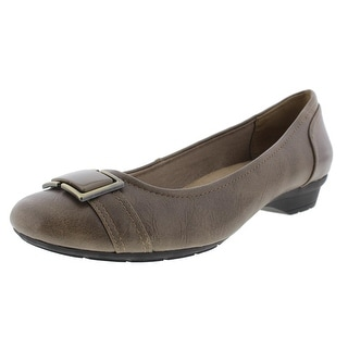 LifeStride Womens Uno Faux Leather Buckle Flats - 10 wide (c,d,w)