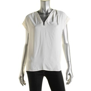Anne Klein Womens Chiffon Pleated Pullover Top - 6