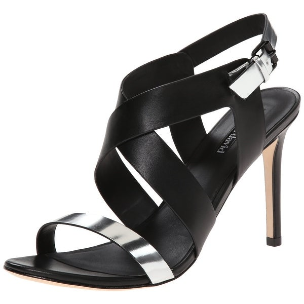 Charles David NEW Black Silver Shoes 7.5M Strappy Ivette Heels