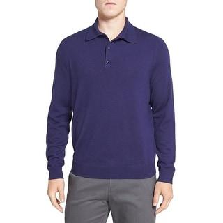 Nordstrom NEW Purple Dark Mens Size XL Polo Wool Long Sleeve Sweater
