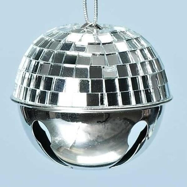 "2.5"" Winter Ice Silver Disco Ball Jingle Bell Christmas Ornament"