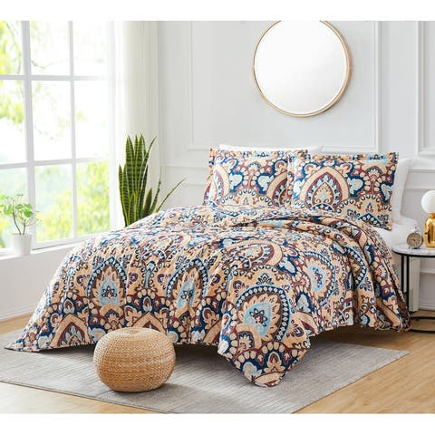 Georgetown Damask 3-Piece Reversible Quilt Set