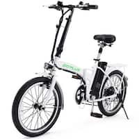 Goplus 20'' 250W Folding Electric Mountain Bicycle EBike Speed Lithium Battery White
