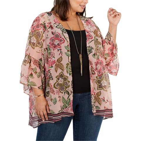 Style & Co. Womens Floral Kimono Jacket