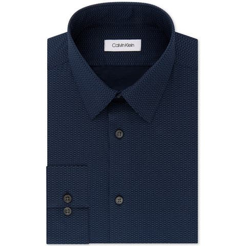 Calvin Klein Mens Slim Fit Stretch Button Up Dress Shirt