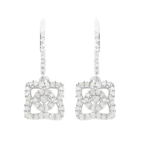 0.54 Carat Genuine White Diamond .925 Sterling Silver Earrings