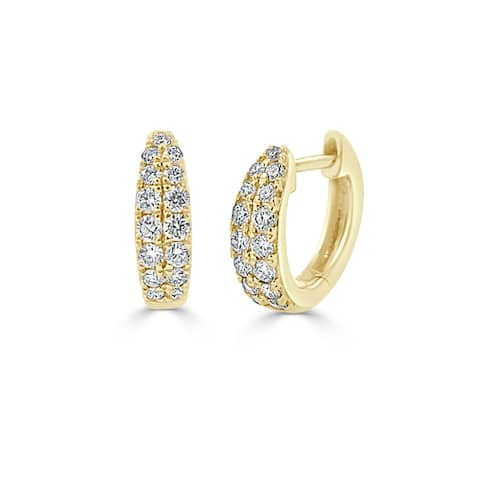 Diamond Double Row Huggie Earring 14k Yellow Gold 3/8 ct by Joelle Collection