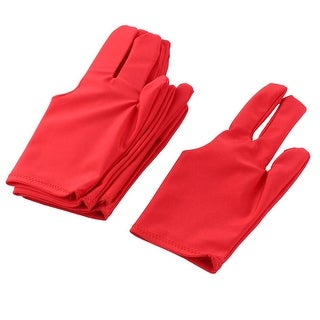 Elastic Snooker Pool Cue Shooters Carom Three Finger Billiard Gloves Red 6pcs