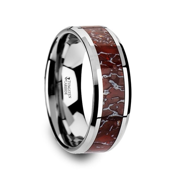 THORSTEN - JURASSIC Red Dinosaur Bone Inlaid Tungsten Carbide Beveled Edged Ring