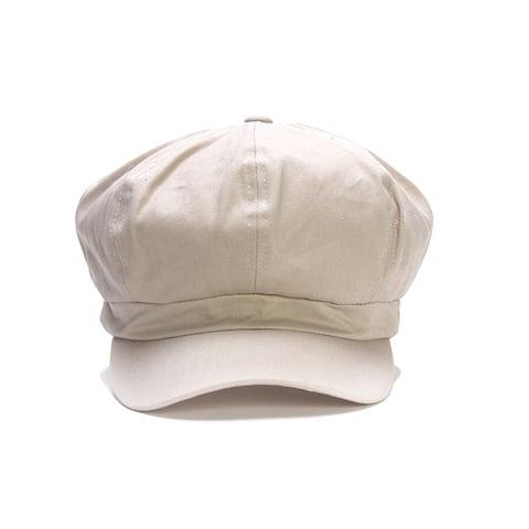 Cotton Elastic Newsboy Cap - Stone