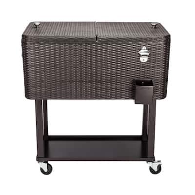 "34""Rattan Square Legs Cooler with Shelf 80QT"
