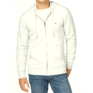 Tommy Hilfiger NEW White Ivory Mens Size 2XL Full Zip Hooded Sweater