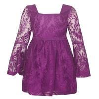 Big Girls Dark Pink Lace Long Sleeve Flared Cuff Trendy Dress