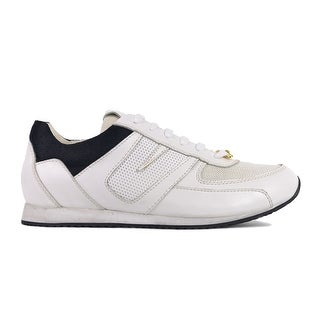 Versus Versace Mens White Black Mesh Leather Trainer Sneakers