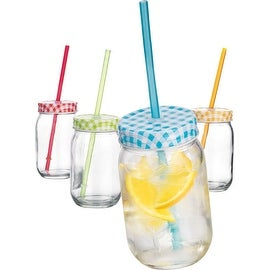 Palais Mason Jar Tumbler Mug with Stainless Steel Lid and Decorative Straws - 15 Ounces - Set of 4 (