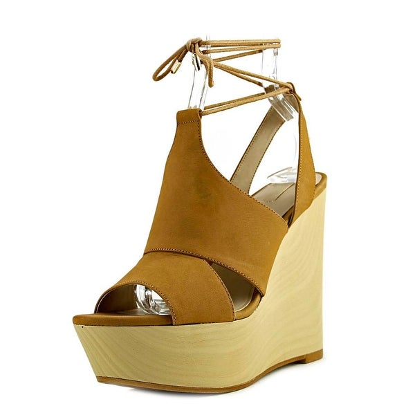 Aldo Gwyni Women Open Toe Leather Tan Wedge Sandal