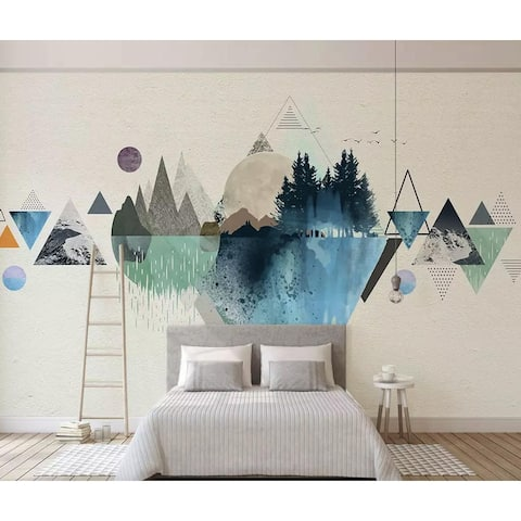 Forest Geometric Pattern Landscape Removable Textile Wallpaper