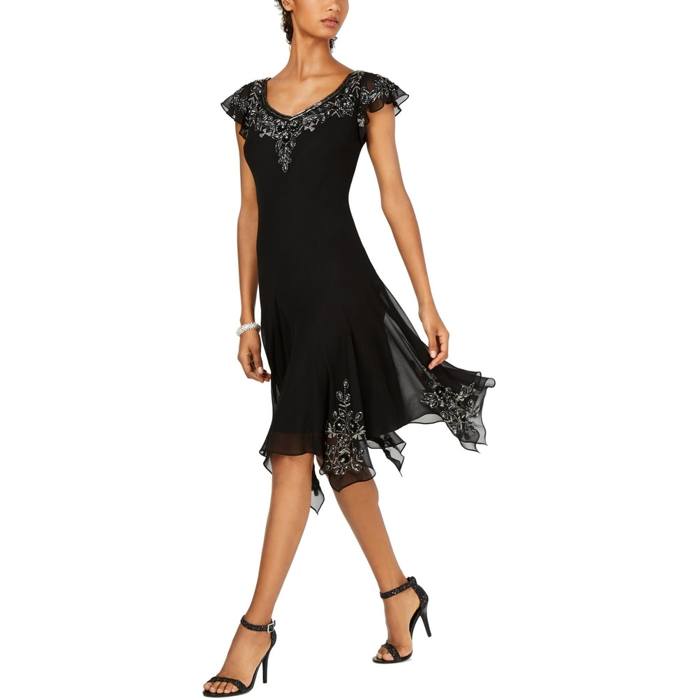 JKara Womens Cocktail Dress Embellished Handkerchief Hem - Black/Silver by  Best Design