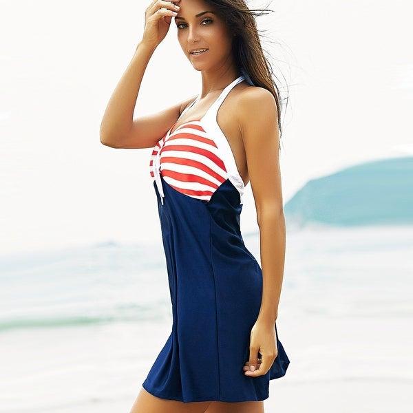 3f618970aec Shop Retro Sailor Halter Swim Dress Bathing Suit - Plus Sizes Too ...