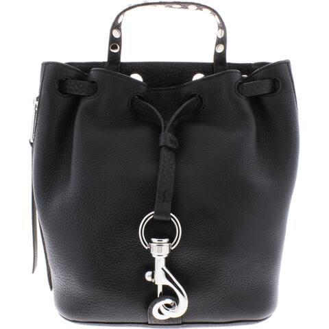 Rebecca Minkoff Blythe Women's Pebbled Leather Adjustable Studded Small Drawstring Backpack - Black