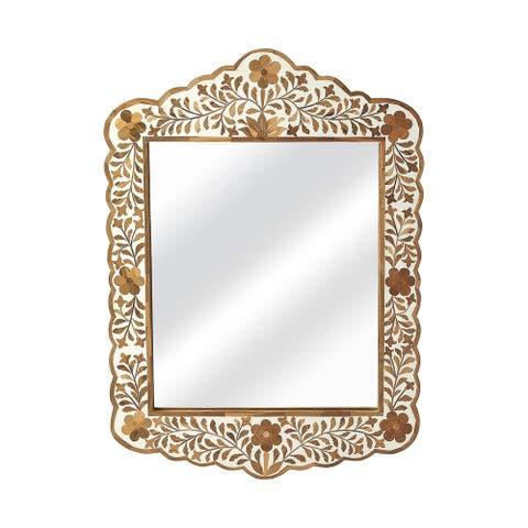 "Offex Vivienne Rectangular Light Brown Wood and Bone Inlay Wall Mirror - 1""L x 20""W x 28""H"