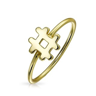 Bling Jewelry Gold Plated 925 Sterling Silver Shiny Hashtag Ring