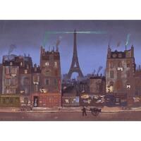 ''Tour Eiffel la Nuit'' by Michel Delacroix Cityscapes Art Print (12.5 x 17.25 in.)