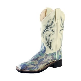 Old West Cowboy Boots Girls Kids Camo Square Toe Silver Blue