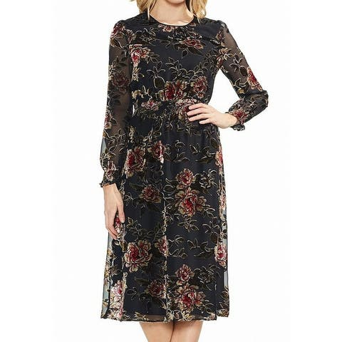 Vince Camuto Womens Dress Black Size Large L A-Line Velvet Floral Print