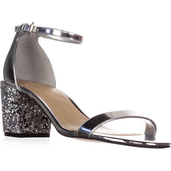 Marc Fisher Safia Ankle Strap Block Heel Sandals, Silver - 8.5 us