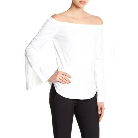 Theory Auriana Stretch Off-the-Shoulder Top, White, P