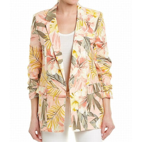 Joie Pink Orange Womens Blazer Size 2 Tropical Floral-Printed Ruched