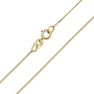 Bling Jewelry 14K Yellow Gold Thin Italian Curb Chain 018 Gauge