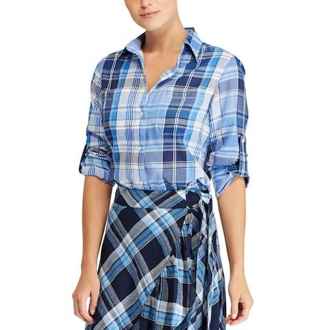 Lauren Ralph Lauren Plaid Twill Cotton Shirt Medium Blue Long Sleeve