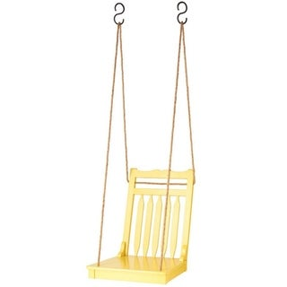 Pack of 2 Pale Lemon Yellow Mango Wood Outdoor Garden Patio Hanging Swing Chairs