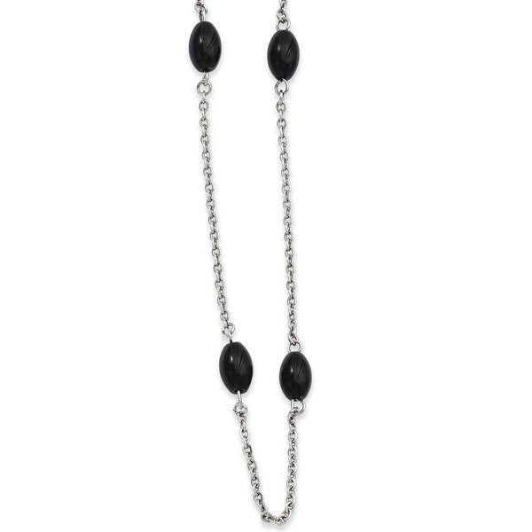 Stainless Steel IP Black-plated Beads 62in Necklace (4 mm) - 62 in