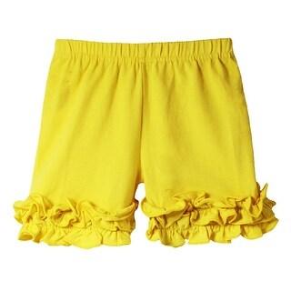 Girls Yellow Elastic Waist Ruffle Bottom Icing Boutique Shorts