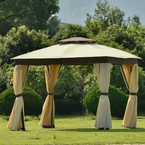 11.8x11.8''Soft Top Patio Gazebo Tent Garden Canopy for Patio,Brown
