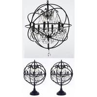 Set of 3 - Foucault's Orb Crystal Iron Table Lamps and Orb Chandelier