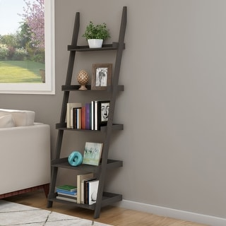 Link to Hastings Home 5-Tier Ladder Bookshelf, Slate Gray Similar Items in Office Storage & Organization