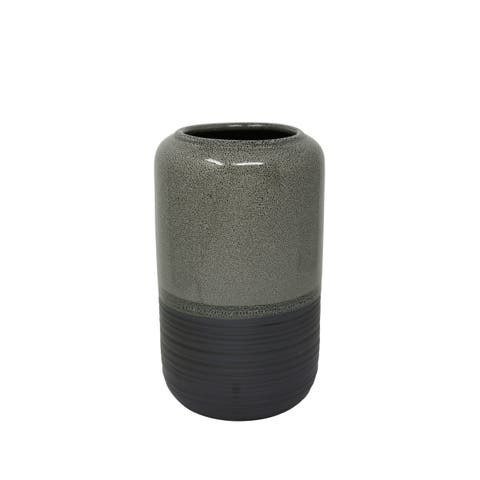 Cylinder Shaped Ceramic Vase with Wide Opening, Small, Gray and Black