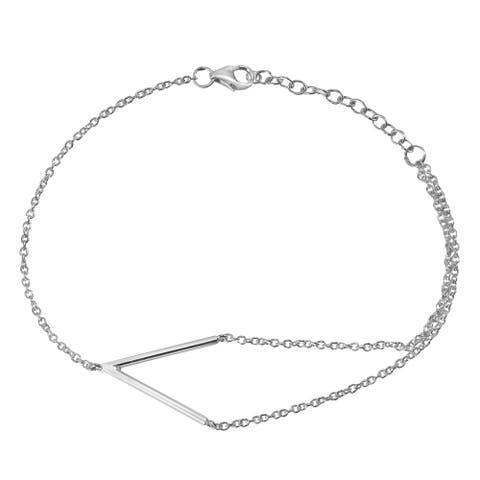 Handmade Unique V-Shaped Charm Sterling Silver Chain Bracelet (Thailand)