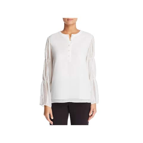 Karl Lagerfeld Womens Blouse Lace Inset Bell Sleeves