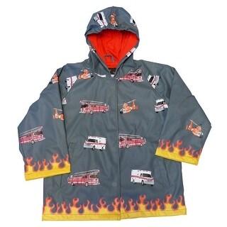 Foxfire Baby Boys Grey Fire Truck Print Hooded Raincoat 12M - 1t
