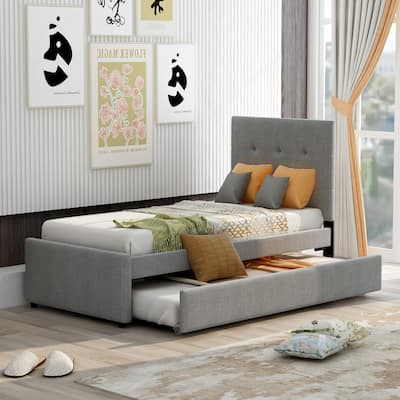 Nestfair Modern Twin Size Linen Upholstered Platform Bed With Headboard and Trundle