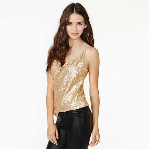 New Sexy Sling Slim V-Neck Gold Sequined Vest